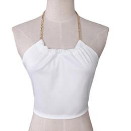 Wholesale Cup Chain Settings Wholesale - Wholesale-Newly Design Women's White Cotton Blends Chain Boho Tank Tops Bustier Bra Crop Tube Tops 160104