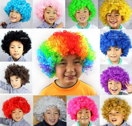 Wholesale Disco Dresses - New Unisex Clown Fans Carnival Wig Disco Circus Fancy Dress Party Stag Do Fun Joker Adult Child Costume Afro Curly Hair Wig party props