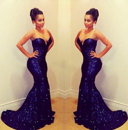 Wholesale picture bling - Bling Bling Royal Blue Sequined Prom Dresses 2018 Strapless Backless Mermaid Sweep Train Modest Evening Party Pageant Gowns Celebrity Dress