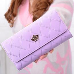 Wholesale Crown Zip - 100pcs lot New Fashion Women Crown Plaid Long Double Zip Clutch Leather Wallet Purse Coin Card Bag