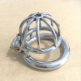 Wholesale sex small china - China New design Small Male Bondage Chastity belt Stainless Steel Adult Cock Cage BDSM Sex Toys Chastity Device Short Cage