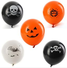 Wholesale Ghost Clubs - Hot Halloween Latex Balloons Party Decoration Orange Black Skull Pumpkin ghost bat Trick or Treat Scary club bar decor props gif supplies