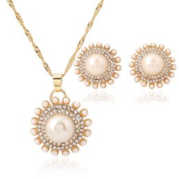 Wholesale Victorian Bracelets - Austrian Crystal CZ Simulated Pearl Victorian Style Necklace Earrings Bracelet Set Clear JS200