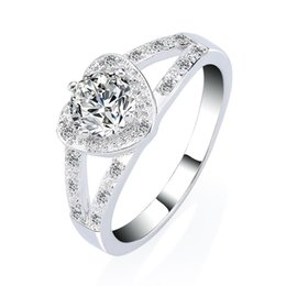 Wholesale Married Rings - Romantic Love Heart Engagement Ring with AAA+ Zircon 18k White Gold Plated GP Wedding Jewelry Silver Ring Gift Marry Me
