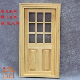 Wholesale Wholesale Miniature Frames - Wholesale-1:12 Dollhouse Door with Window and Frame for Miniature Exterior Wood Furniture Doll Home Model Decorations
