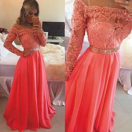 Vestido renda manga larga vestidos de fiesta online-Alta calidad de manga larga de encaje de coral vestidos de baile 2016 importados de lujo elegantes vestidos de noche del partido para ocasiones Vestido Longo Renda