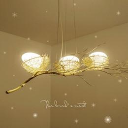 arte pós-moderna Desconto Mão-tecido criativo personalidade ninho lustre Restaurante luz Nordic arte criativa lustre sala de jantar ninho de pássaro pós-moderno chandeli