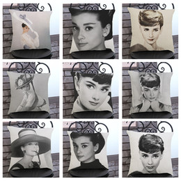 Wholesale Print Audrey - Pillow Covers Cushions Audrey Hepburn Black White Office Sofa Chair Home Textiles Pillowcase Without Pillow Core Home Decoration