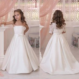 Wholesale Detachable Sleeves For Wedding - 2017 Ivory Off The Shoulder Flower Girls Dresses For Weddings Satin With Detachable Lace Half Sleeve Jacket Bow Sash First Communion Dress