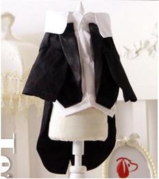 Wholesale Teddy Dog Dress - 2016 Teddy dog black wedding dress white clothing pet clothing dog clothes suit tuxedo dress fake two sizes XS-XXL