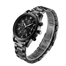 Wholesale gun black glass - High-Quality Mens Designer Watches Luxury Watch Brand OUKESHI Wristwatch Gun-Black Steel Strap Fashion Waterproof Calendar Reloj Watches