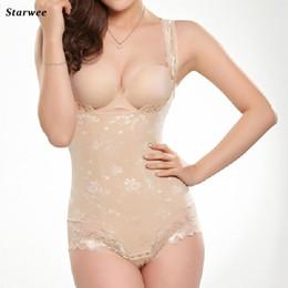 Wholesale Girdle Bodysuit - Wholesale- Hot Shapers Women Lace Bodysuit shaper Waist Corset Underwear Body Postpartum Girdles J1049
