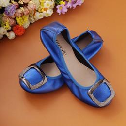 Wholesale Diamond Dancing Shoes - Wemen Casual Folding ballet shoes Genuine Leather Top Quality fashion Brand Soft women Square buckle diamonds dancing driving Flats