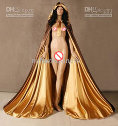 Wholesale Satin Cloaks - New Hot Spell color Gold and brown Satin Cape Cloak Medieval Renaissance Wedding Costume Custom Any colour