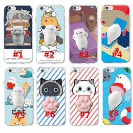 Wholesale Cat Protectors - 3D Squeeze Cat Phone Cases Squeeze Stretchy Fidget Case Stress Relieve TPU Protector Shell Squishy Cats Cover For iphone 7 plus 7 6 plus