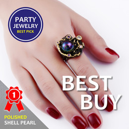 Wholesale Unique Pearl Gold Ring - ashion jewelry Best Buy Elegant Jewelry with Pearl Multi colorful stone Black Gold-color Fashion Unique Design Party Anniversary Gift R...