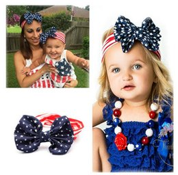 Wholesale Bow Knot Hair - 2016 New American Flag Headband 4th of July Independence Day Knotted Headband with Gair Bow American Flag Hair Accessories