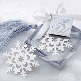 Wholesale Silver Bookmarks Wholesale - 10pcs Snowflake Bookmarker Bookmark Student Gift box Wedding Favors Bear Bookmarks Party Christmas