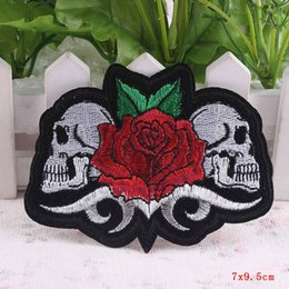 Wholesale Iron Clothes Stickers - 10Pcs Rose Skull Patch Stickers Iron On Punk Rock Patch Biker Cheap Embroidered Patches For Clothes Badges