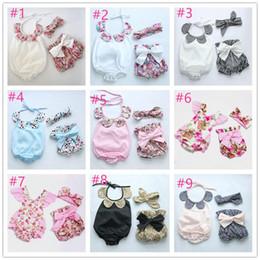 Wholesale Vintage Infant Romper - 2016 New arrival spring summer baby boutique romper headband shorts boutique sets infant cute vintage floral clothing set