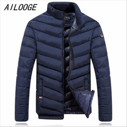 Wholesale Goose Down Hats - Wholesale- AILOOGE New Winter Down Jacket Men 2016 New Brand Men Stand Collar Made of Goose Feather Thick Coat Men's Parkas