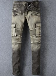 Wholesale Career Pants - Famous Brand Paris Jeans Stylish Mens Slim Locomotive Pants Casual Or Career Wear Pencil Pants new Motorcycle Jeans
