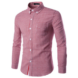Wholesale Korean Leisure Styles Cotton Shirt - Korean Style Young Men Plaid Shirt Fashion Long Sleeve Men Shirt Red Purple Men Leisure Shirts