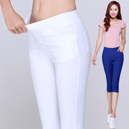 Wholesale Ladies Candy Color Pants - Wholesale-2016 Summer Style Candy Color Capri Pants Women Thin Summer Pants Ladies High Waist Elastic Plus Size Pants