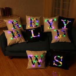 Wholesale Wholesale Body Pillows - 40*40cm LED Pillow Case Cushion Covers Big Letters Boster Case Color Changing LED Flash Lights Sofa pillowslip Throw Pillowcase
