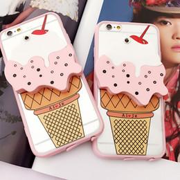 Wholesale Iphone Cases Icecream - Cool Summer 3D Icecream Ice Cream with Mirror Design PC Back Case For iPhone 5 5S 6 6S 6plus Cover Phone Bag