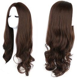 Wholesale Blonde Wig Natural Looking - Natural look vintage blonde wig long loose wave wigs Brazilian hair synthetic lace front wig heat resistant Synthetic Hair