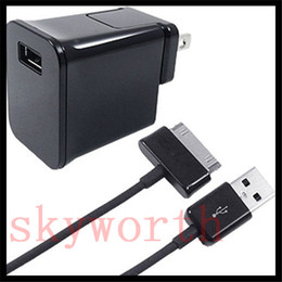 Wholesale Ac Power Cable Pc - AC HOME TRAVEL WALL CHARGER POWER ADAPTER + USB CABLE CORD for SAMSUNG GALAXY TAB 2 3 4 S A TABLET PC
