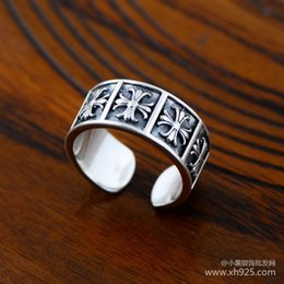 Wholesale Simple Flower Engagement Rings - Jimei silver jewelry lovers adjustable 925 sterling silver jewelry simple wide Crusades flower lovers opening ring, shipping