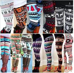 Wholesale Boys Warm Pants - Hot Colorful christmas Snowflakes Reindeer Printed Silk Legging girls Women spring autumn Warm Bootcut Stretchy Pants Nordic