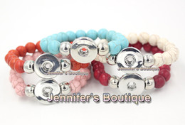 Wholesale Turquoise Chunky Bracelet - New Arrival DIY Interchangeable Snap Jewelry Expandable Bead Stretch Chunky 10mm Flex Turquoise Beaded Snap Bracelets for Women
