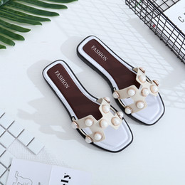 Wholesale Casual Gladiator Sandals - Fashion pearl sandals a font in the end of the flat with foreign women slippers Europe and the United States 2017 summer new