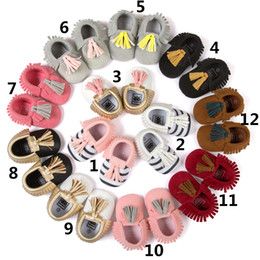 Wholesale Toddler Size 12 Leather Shoes - Soft Sole Baby Kids Shoes Newborn Boy Moccasins Baby First Walkers Toddlers Leather Infant Shoes for Girls Tassels Footwear Size 11 12 13