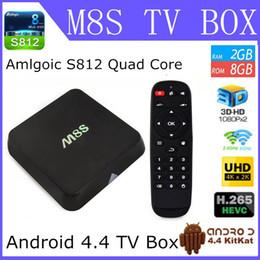Wholesale Android Rj45 Quad - Henscoqi TV Box M8S Amlogic S812 Quad Core 2GB 8GB H.265 WiFi BT HDMI SPDIF RJ45 KOD Android 4.4 Kitkat TV Box