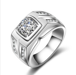 Wholesale Silver Stamped Rings - Fashion Mens 925 Sterling Silver Jewelry With Stamp 0.75ct Gemstone Zircon Diamond Engagement Wedding Band Rings For Men Size 6-12