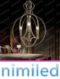 Wholesale Iron Crystal Beads - nimi751 Dia 46cm American Bead Retro Rustic Restaurant Bedroom Hallway Lights Living Room Crystal Chandeliers Wrought Iron Pendant Lamp