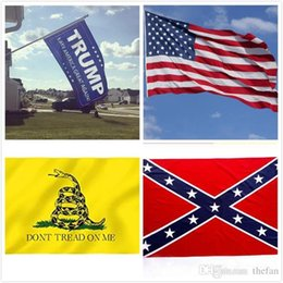 Wholesale wholesale confederate flags - 90*150CM Confederate Rebel Civil War Flags DONT TREAD ON ME Flag USA Flag Donald Trump Flag 2016 Make America Great Again DHL Free Shipping