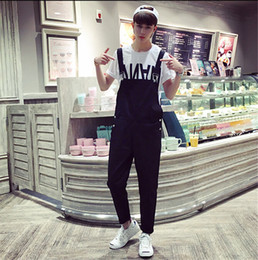 Wholesale Denim Overall Men - Wholesale-Street Fashion Men Jumpsuit Casual Straight Cotton Overalls Trousers Mens Bib Pants Black Asia Tag Size M-3XL