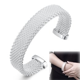 Wholesale Silver Bangle Mesh Cuff - 925 Sterling Silver Plated Jewelry Knitted Rattan Mesh Wide Circle Open Love Cuff Bracelets Bangles for Girls Women Christmas Gift