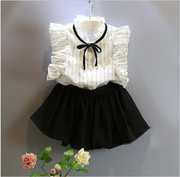Wholesale Girls Butterfly Shirt Wholesale - Cute Girls Summer Clothes Sets 2016 New Children Striped Sleeveless Vest Shirt+Black Short Skirts 2pcs Kids Outfits Baby Girl Suits 5set lot