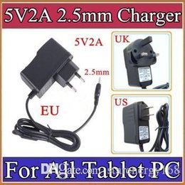Wholesale Wall Adapter Power Supply - 5V 2A DC 2.5mm Plug Converter Wall Charger Power Supply Adapter for A13 A23 A33 A31S ALL Tablet PC EU US UK plug Retail A-PD