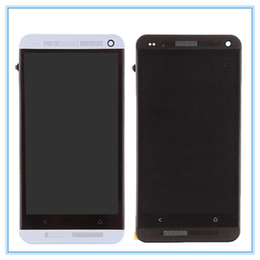 Wholesale M7 Dual Sim - Tested Dual SIM For HTC ONE M7 802t 802D 802W LCD Display Touch Screen Panel Digitizer Full Assembly+ Frame Bezel Free Shipping