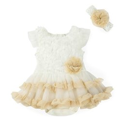Wholesale Black Baby Onesies - 2016 New Girl Baby onesies Lace TUTU Jumpsuit Dress+Headbands 2 Piece Sets Infant Clothing 3-24M 7041