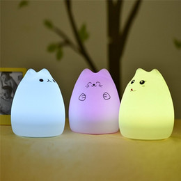 Wholesale Animal Night Lights Kids - 2016 New Colorful Silicone Soft USB Rechargeable Animal Night Light Cute Cat Table Lamp LED Light For Kids Baby Nursery