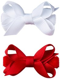 Wholesale Kids Hair Bobbles - Baby kids Girls Handmade Mini 2 inch Butterfly Hair Bow Clip bobble No Slippy Hair Clippy 100pcs