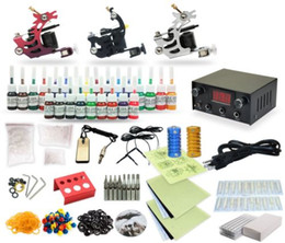 Wholesale Complete Tattoo Power - Complete Tattoo Kit 3 Machine Coil Guns Equipment Power Supply 25 Ink Colors TK-27